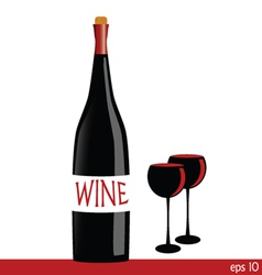 Bottle of wine with two glasses vector