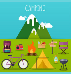 Camping and outdoor recreation concept vector