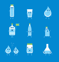 cartoon water funny emotions bottle set vector image