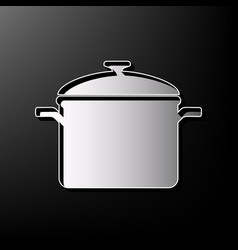 Cooking pan sign gray 3d printed icon on vector