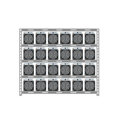 Cryptocurrency mining server rack isolated icon vector