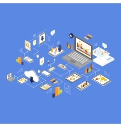 Data storage and technology isometric vector