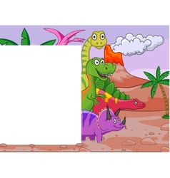 Dinosaur with blank sign vector image vector image