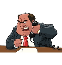 evil boss with handset vector image vector image