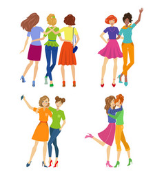 Female friendship beautiful girl friends hugging vector