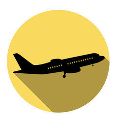 Flying plane sign side view flat black vector