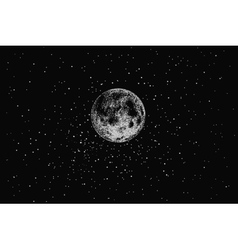 Full moon in outer space vector image vector image