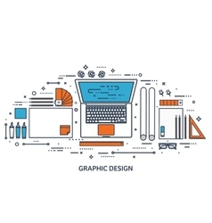 Graphic web design Drawing and painting vector image