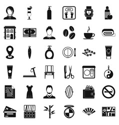 Hairdressing tool icons set simple style vector