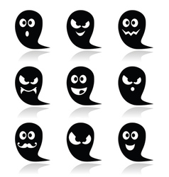 Halloween ghost icons set - scary friendly vector image