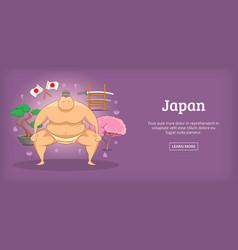 Japan banner horizontal sumo cartoon style vector
