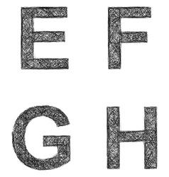 Line art font set - letters e f g h vector