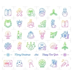 Mega christmas icons set trendy gradient line vector