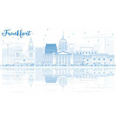 Outline frankfort skyline with blue buildings and vector