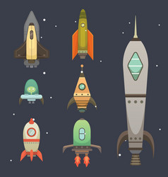 rocket ship in cartoon style new businesses vector image vector image