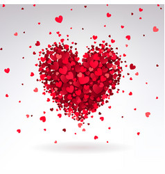 romantic heart of red hearts vector image