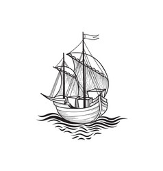sailing ship retro transport marine background vector image vector image