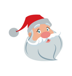 Santa clause face with beard and hat cartoon vector