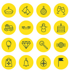 Set of 16 christmas icons includes brilliant vector