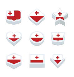 Tonga flags icons and button set nine styles vector