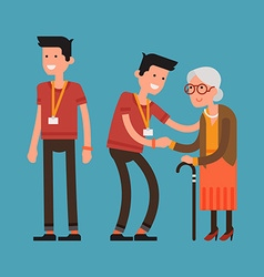 Volunteering with the elderly vector