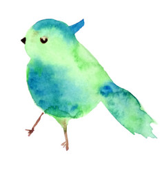 Watercolor bird shape texture blue and vector