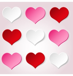 White red and pink valentine hearths from paper vector