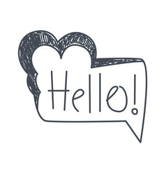Word hello hand drawn comic speech bubble vector