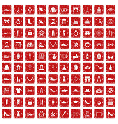 100 vogue icons set grunge red vector