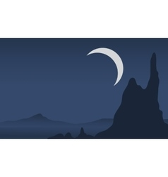 Silhouette of cliff ad mountain scenery vector