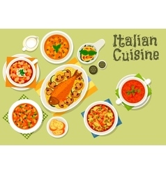 Italian cuisine healthy dinner icon vector