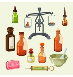 Pharmaceutical apothecary elements set realistic vector