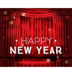 Happy new year open red curtains vector