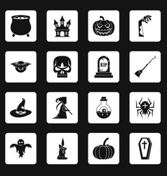 Halloween icons set squares vector
