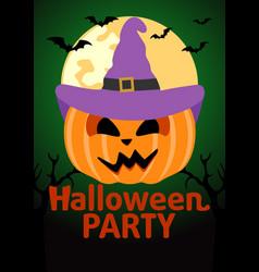 Halloween party banner with pumpkin vector
