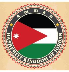 Vintage label cards of jordan flag vector