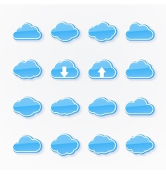 blue cloud icons of different shapes vector image