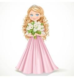 Young princess in a pink dress with tulips vector