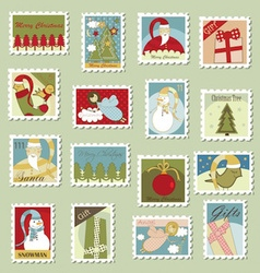 Large set of christmas postage stamps vector