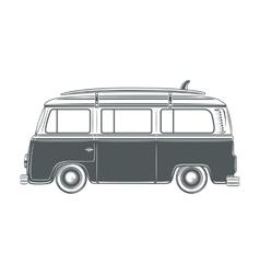 Retro vintage travel camper van with surf vector image