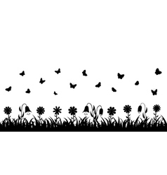 Butterflies over the grass and flowers vector