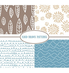 Set og hand-drawn simple seamless patterns vector