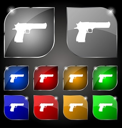 Gun icon sign set of ten colorful buttons with vector