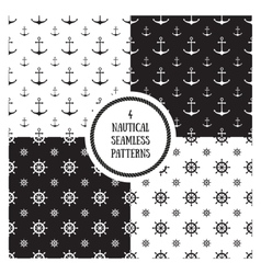 Seamless nautical pattern set vector