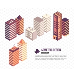 Set of isometric tall buildings for city building vector