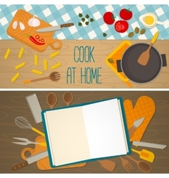 Flat design food and cooking banner vector image