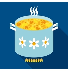Blue stewpan with soup in flat style vector