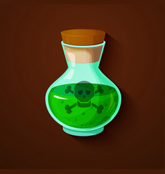 Glass bottle with a green toxic liquid vector