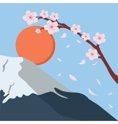 Snowy mountain fuji sakura flower fall japan sun vector