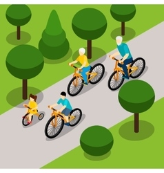 Grandparents cycling with children isometric vector